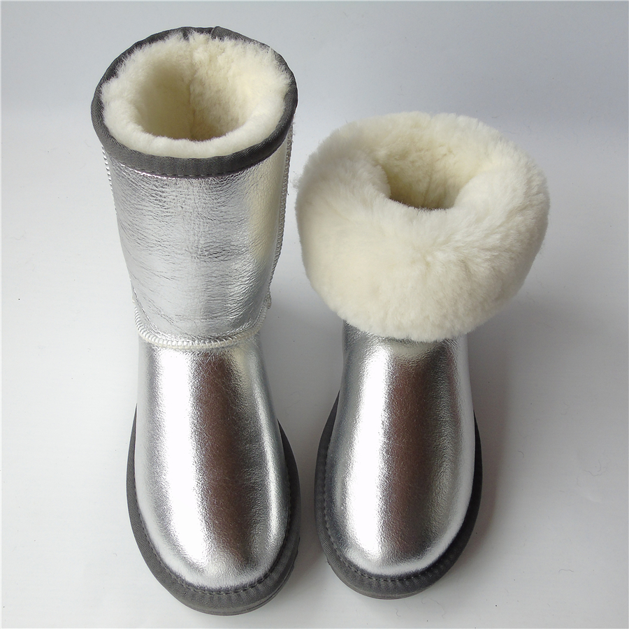 Brand Sheepskin Snow Boots Natural Wool Sheep Fur Boots Middle Button Women Winter Genuine Leather Boots