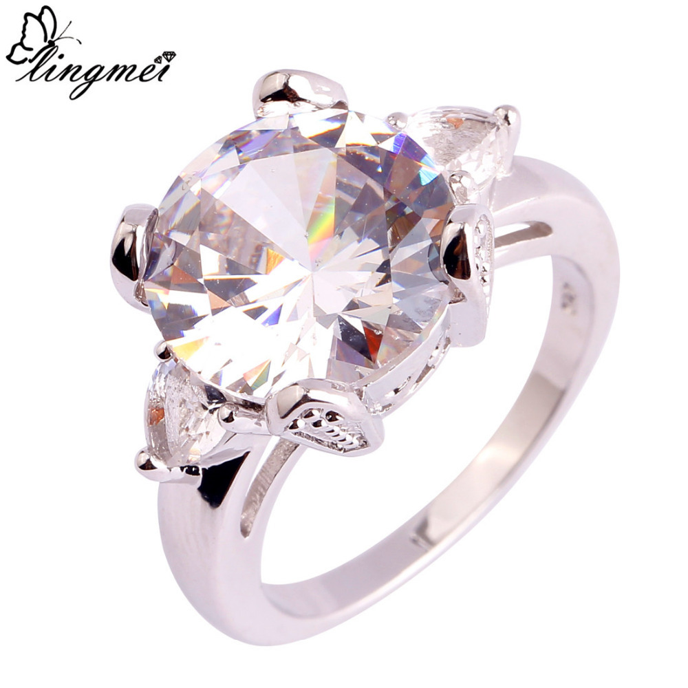 lingmei Wholesale Great White CZ Classic Fashion Wedding Silver Ring Size 6 7 8 9 10 11 Facile Nice Jewelry Free Ship 124R3