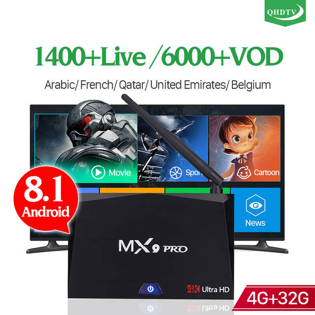IPTV France TV Receivers Android 8 1 4G 32G RK3328 Dual Band Wifi MX9 Pro  with QHDTV IPTV Subscription 1 Year IPTV Arabic French
