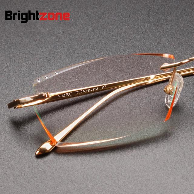 Corte de diamantes requintados artesanato luz pure titanium sem aro óculos masculinos óculos de miopia prescrição rx óculos quadro completo