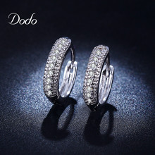 Vintage White Gold Plated Hoop Earrings for women crystal Inlay Zircon elegant Jewelry Wedding Engagement girls dress brinco E18