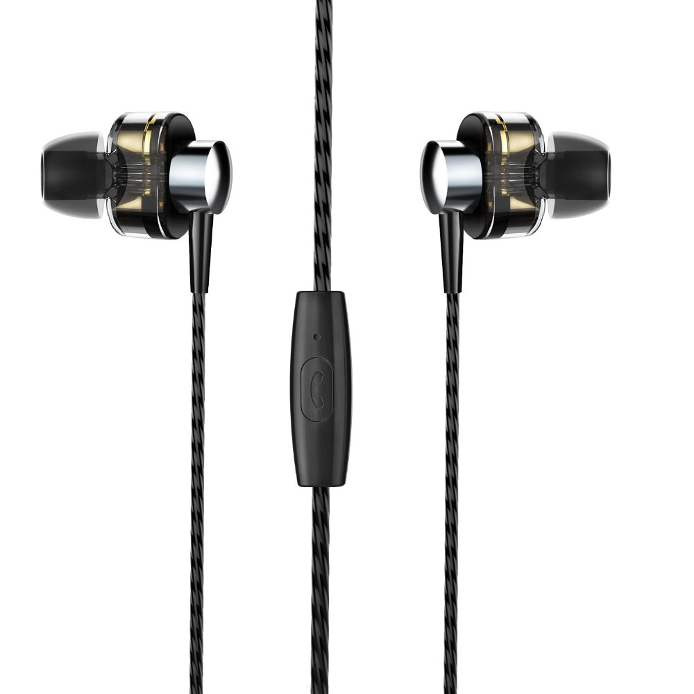 New Drive Double Dynamic Earphone With Mic Hi-Fi Heavy Bass Stereo Original Earplugs Earphone For iPhone Android Mobile Phone original senfer dt2 ie800 dynamic with 2ba hybrid drive in ear earphone ceramic hifi earphone earbuds with mmcx interface