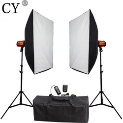 CY Photography Studio Soft Box Flash Lighting Kits 600W Flash+Softbox*2+Stand*2 Photo Studio Accessories Godox Smart 300SDI