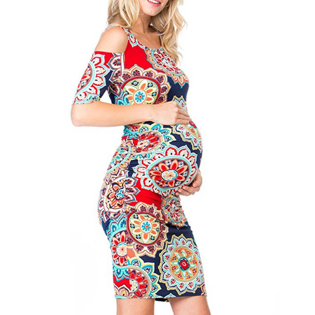 237e4428360 2018 Women Dress Maternity Photography Props Floral Printed Pregnant Nursing  Dresses Cold Shoulder Gearwheel Maternity Dress