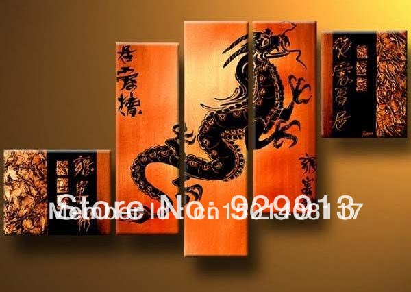 Framed 5 Panel Large Chinese Dragon Wall Art Orange Oil Painting on ...