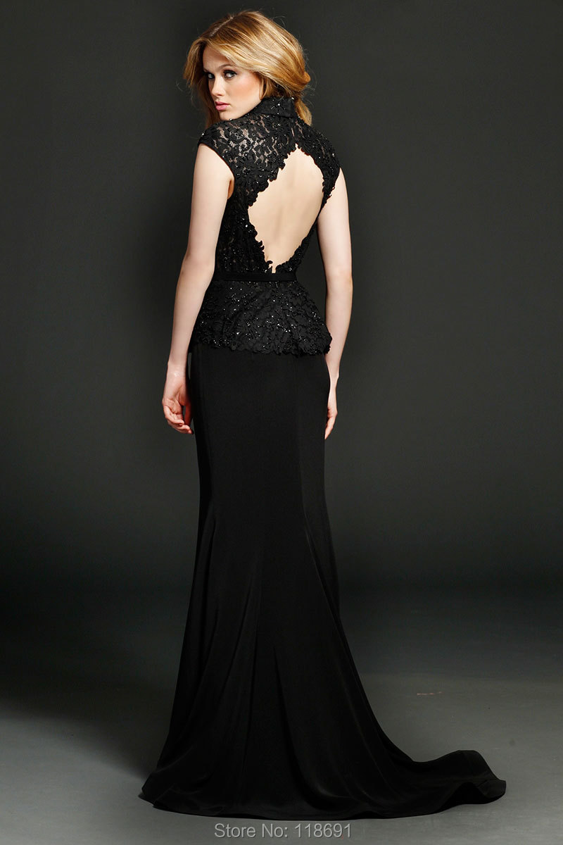 Black Lace Cap Sleeves Backless Prom Dresses High Neck Mermaid ...