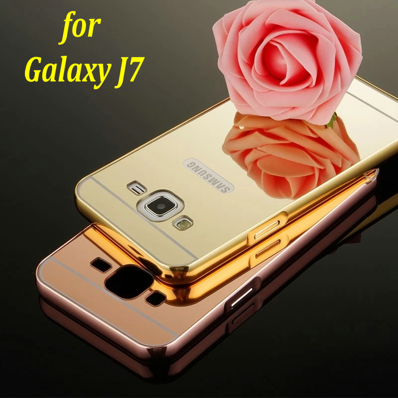 official photos 03dc5 a140c US $3.99 |New For Samsung Galaxy J7 2015 Mirror Back Cover Case & Aluminum  Metal Frame Set Hot Phone Bag Cases for Galaxy J7-in Fitted Cases from ...