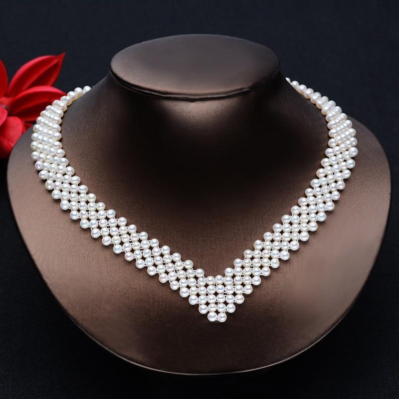 Collier ras du cou en perles d'eau douce blanches naturelles collier vintage en perles muiltlaye pour femmes