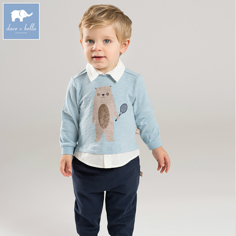 DBA6365 dave bella spring baby boys clothing sets toddler children suit high quality toddler outfits Clothing Suits db5073 dave bella spring baby boys sports clothing sets turn down collar shirt pants casual boys sets