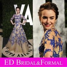 Lily Collins Hülse Halben Abend Kleid mit Königsblau Spitze Appliques auf Champagner Tüll 2012 Oscar Partei-berühmtheit kleid