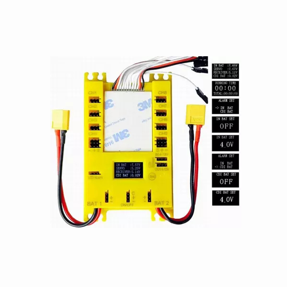 1 Piece RC Hobby Model Parts Mini Servo Distribution Board/ Section Board with LED Screen/ Voltage Alarm/ UBEC-Yellow Color knl hobby voyager model pe35418 m1a1 tusk1 ubilan