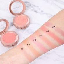 O.TWO.O 6 pçs/lote shimmer blush paleta em pó com escova cor pêssego vermelho mineral blush maquiagem conjunto