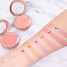 O.TWO.O 6 sztuk/partia Shimmer Blush Powder paleta z pędzlem czerwony kolor brzoskwiniowy mineralny róż do policzków zestaw do makijażu