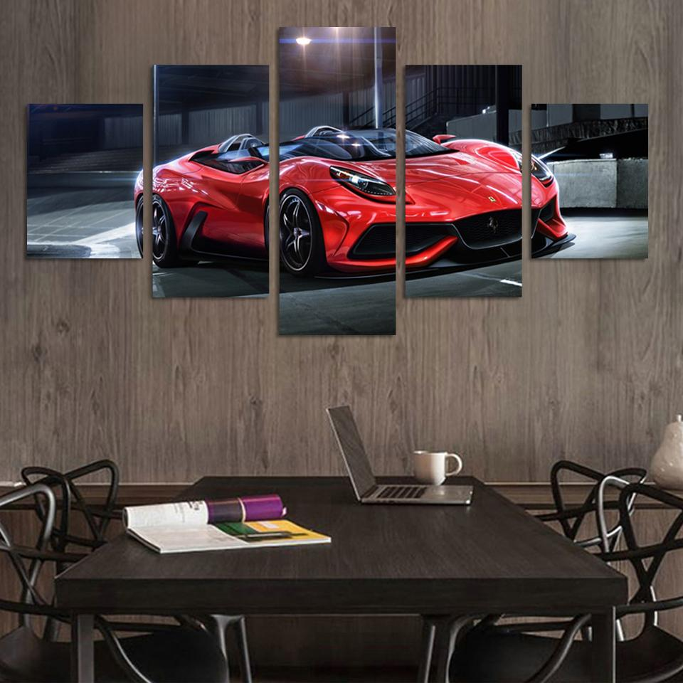 Wall Art Picture 5 Panel Cool Orange Reflective Sports Car Large HD Canvas Print Painting For Living Room Decoration Unframed