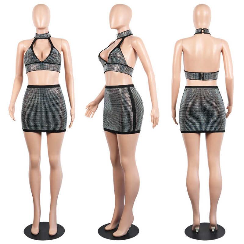 57663c462a ... BerryPark Sparkly Rhinestone Sexy Club Dress 2019 Women Diamond Crop Top  and Skirt 2 Piece Set ...