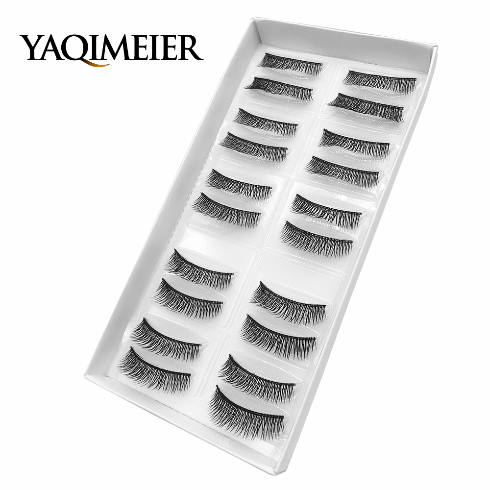 YAQIMEIER 10 Pairs/Set Natural Long Eyelashes Cheap Makeup Synthetic Hair 3D Fake Lashes Makeup Tools