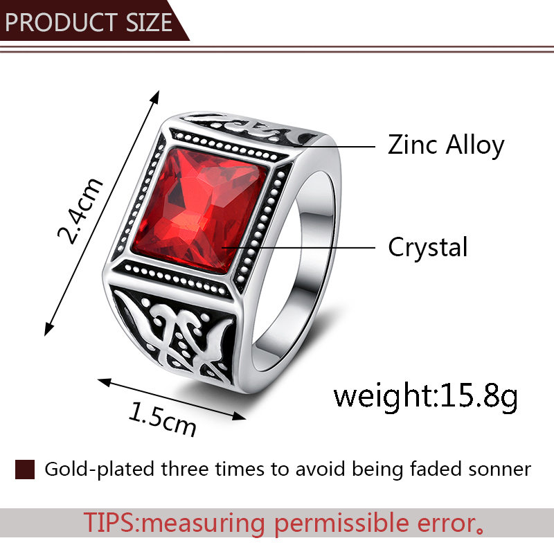 vintage red crystal rings cocktail party ring for men red irregular clear crystal metal Ring big wild ring man in Rings from Jewelry Accessories