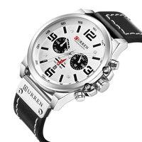 Silber Schwarz Uhr Männer Curren Herren Quarz Uhren Mann Wasserdichte Chronograph Militär Relogio Masculino Leucht Hände Uhr Mann-in Quarz-Uhren aus Uhren bei
