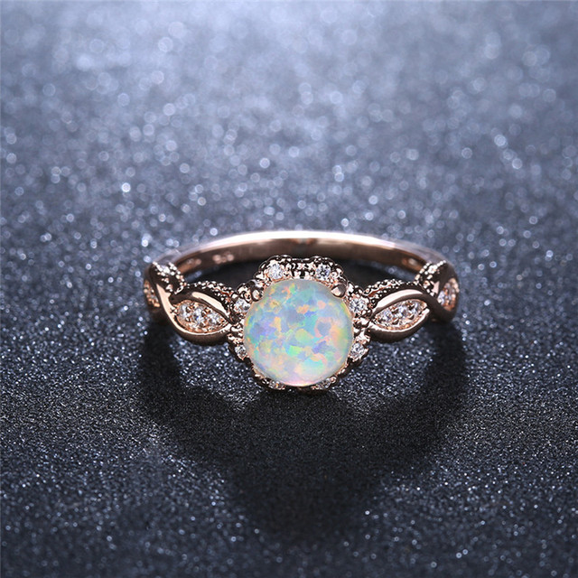 BOAKO Elegant Rainbow Opal Ring Fashion White CZ Wedding Jewelry Rose Gold Filled Engagement Promise Rings for Women anillos 3