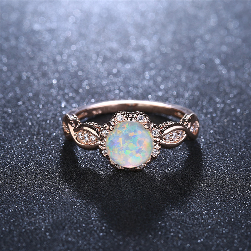 BOAKO Crystal Rings For Women Opal Ring Rose Gold Gem Stone Ring Wedding Party Jewelry Colorful Rainbow Promise Ring Bridal Z4 in Engagement Rings from Jewelry Accessories
