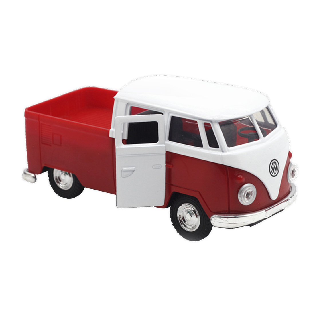 Red simulation 1:32 sound and light music pull back retro van truck fire truck alloy model