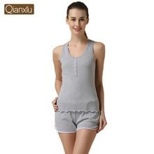 Qianxiu Pajama Set Cotton lounge wear Knitted Sleepwear Sleeveless Suit Pants set