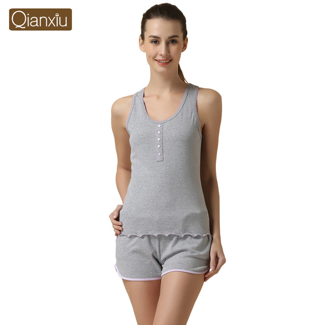Qianxiu Pijama Conjunto desgaste salão Sleepwear Malha de Algodão Sem Mangas Calças Terno ajustado