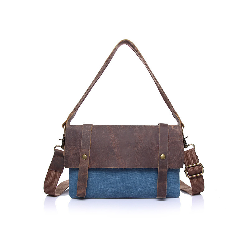 Canvas with leather shoulder bag Messenger bag retro casual wave of female messe