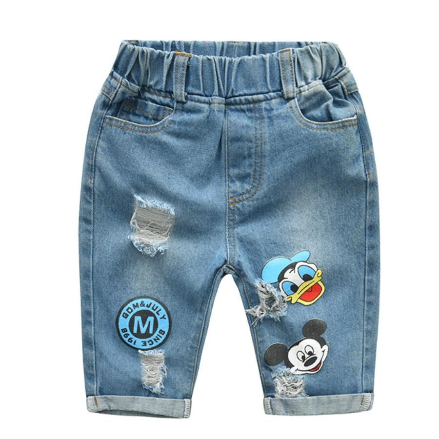 Summer Kids Cartoon Trousers Pant Fashion Girls Jeans Children Boys Hole Jeans Kids Fashion Denim Pants Baby Infant Clothing(China)