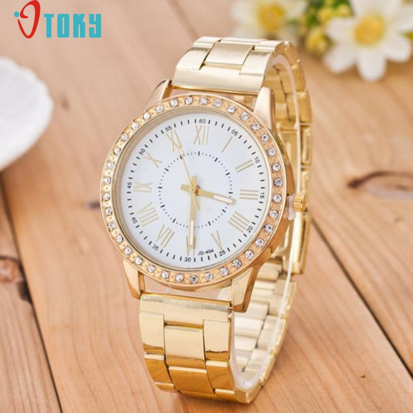 Excellent Quality OTOKY Watch Women Dress Watches Gold New Fashion Full Steel Analog Quartz Ladies Rhinestone Wrist Watches Jan