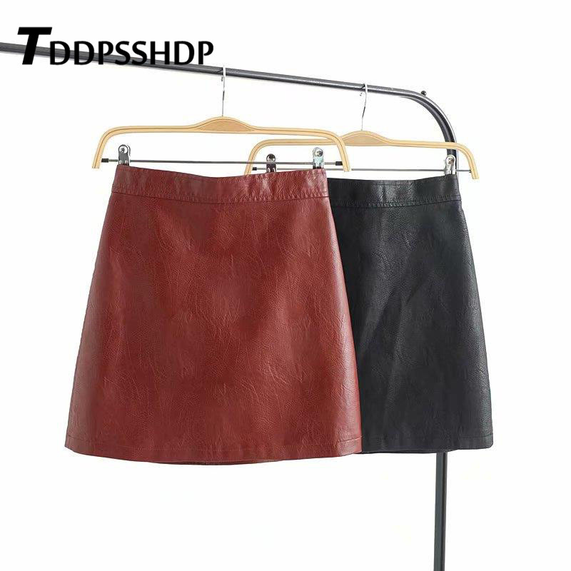 Black Burgundy Top Quality PU Leather Skirt 2019 New Spring  Mini A Line Solid Female Casual Chic Skirts
