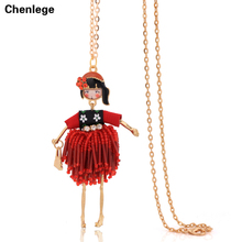 2017 fashion jewelry doll necklace pendant charm big choker women accessories female crystal bead DIY tassel handmade long chain