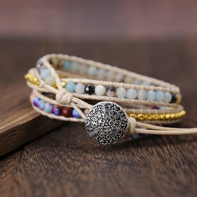 Bohemia Vintage Unique Natural Stone turquoises Charm 3Strands Wrap Bracelets Handmade 3