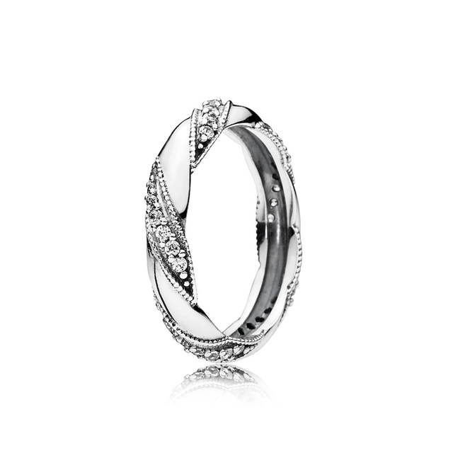 Hot Sale 925 Sterling Silver Ribbon Of Love Clear CZ, Twist Of Fate Stackable Rings for Women Jewelry Anniversary Ring