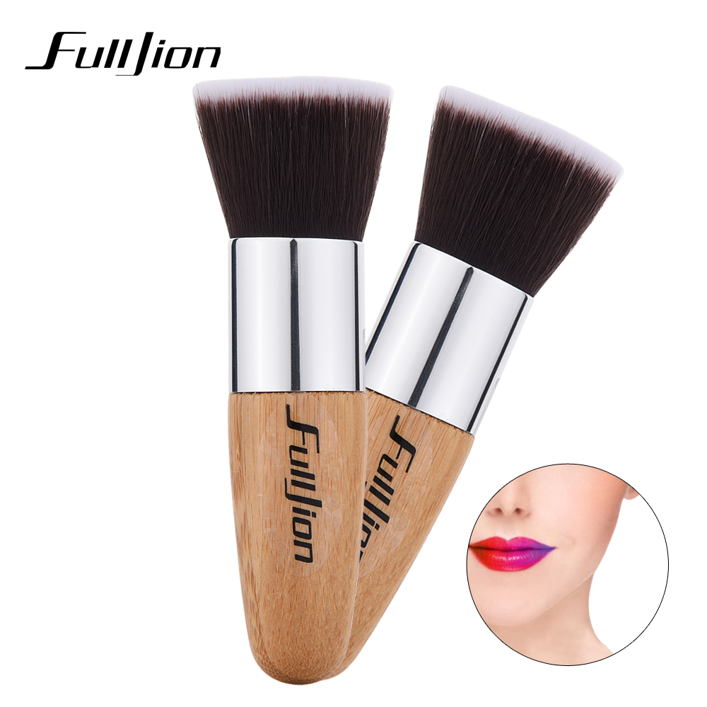 Fulljion 1pcs Fashion Bamboo Flat Top Makeup Brushes Make Up Cosmetics Set Kit Tools Blush Brush Foundation Brush Powder Brush fulljion 1pcs oblique head blush brush multi function foundation powder makeup brushes cosmetics tools wood handle 7 colors