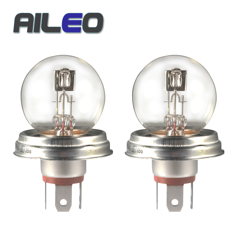 AILEO 2PCS G40 P45t R2/2428 Clear Series Car Head Light Halogen Bulb 12V 45/40W 3200K Lamps Long Lifetime