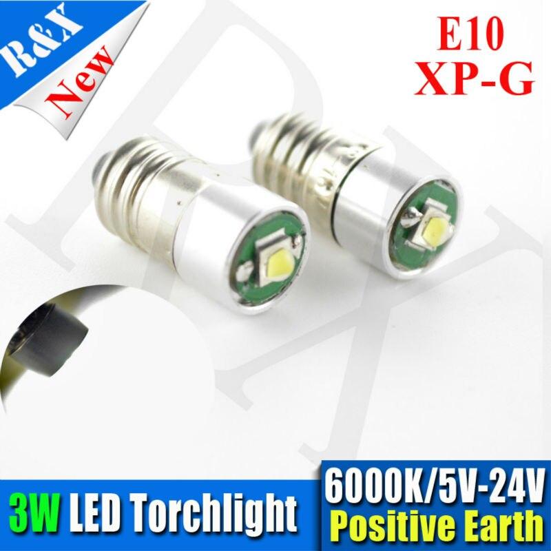 10X LED 5-24V XPG2 E10 3W BULB GLOBE for FLASHLIGHT TORCH HEAD LAMP BICYCLE Xenon White Warm White