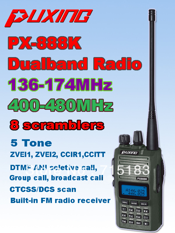 Camouflage PUXING PX-888K dualband dual frequency UHF 400-480Mhz VHF 136-174MHz two way radio PUxing walkie talkie px 888kCamouflage PUXING PX-888K dualband dual frequency UHF 400-480Mhz VHF 136-174MHz two way radio PUxing walkie talkie px 888k