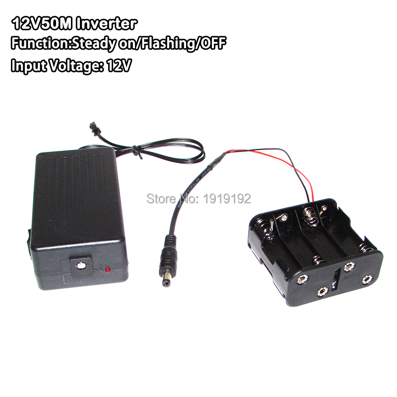 New type DC12V EL inverter/Driver with Cell box for 50M EL wire and strip powered by 8-AA battery For Flashing Glow Party decor
