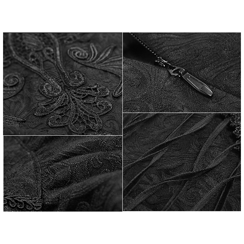 e4f5f298f3f Gothic Vintage Palace Fishtail Skirt for Women Steampunk Black High Waist  Skirts Embroidery Lace Short Skirt