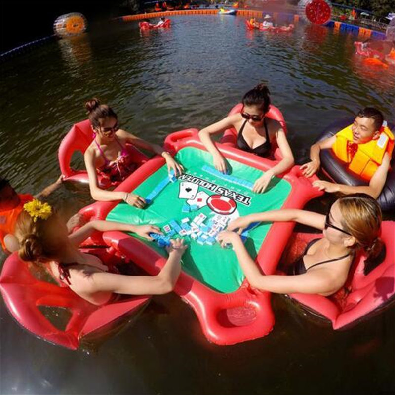 Water Games Beach Party Inflatable Table Pool Toy Large Mahjong Floating Table for Hold with Drink Poker Chips Holder Pool Float vilead new american stripe water hammock pvc sleep tents pool row pattern lounge inflatable air floating bed for beach swimming