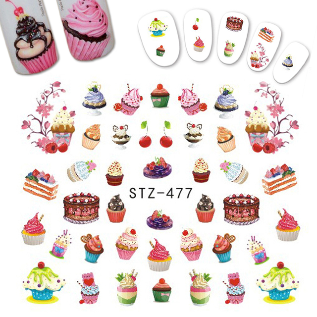 1pcs delicious dessert cake ice cream sticker nail designs for children tips decor nail art decals