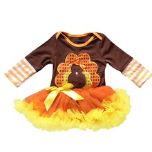 Newborn Baby Girl Romper Dress 1st Thanksgiving Turkey Romper Tutu Dress Ruffle Tutu Skirt Costume Outfits Baby Clothes 0-18M autumn thanksgiving fall winter baby girls brown orange turkey outfits polka dot pant clothes ruffle boutique match accessories