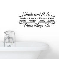 Bathroom Rules Wall Sticker Vinyl Art Decals 60*29cm Removable Waterproof Beauty Fashion High Quality