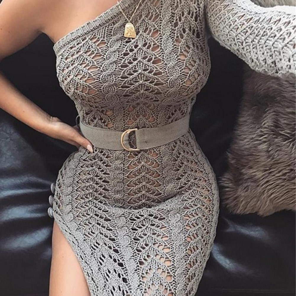 99b301032b4ef Aliexpress.com : Buy 2018 New Knitting Long Dress Women One Shoulder Maxi  Dress Sexy Hollow Out High Split Club Party Dresses Sweater Vestido from  Reliable ...