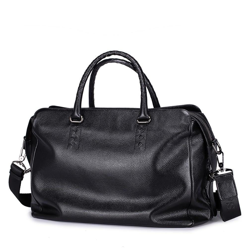 5b1c05d403 Men s Genuine Cowhide Full Grain Leather Lightweight Holdall Duffle Bag Tote  Carryall Weekender Luggage Overnight Travel Bag