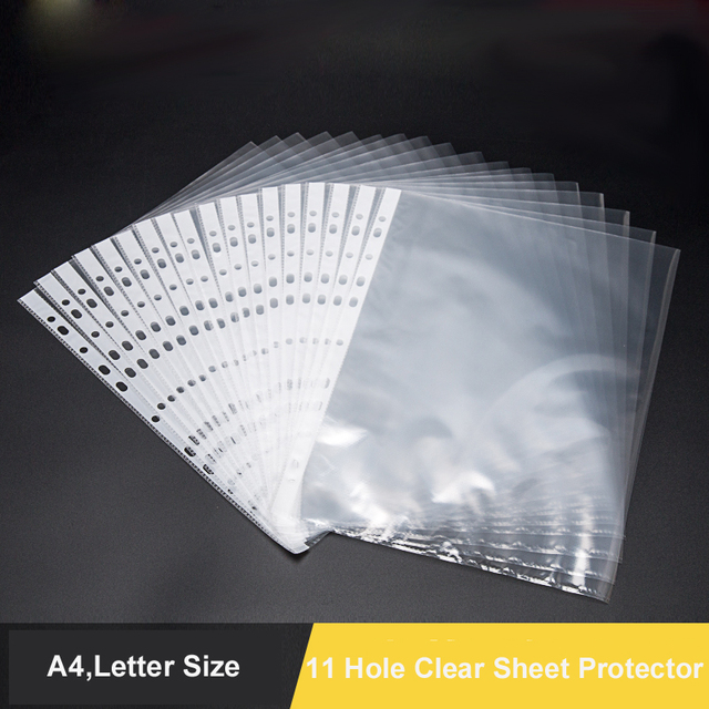 100pcs Lot 11 Hole Clear Sheet Protectors For Ring Binder