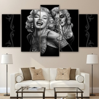 Modular Canvas Home Decor Pictures Frame Wall Art Poster 5 Pieces Marilyn Monroe Smile Now Painting