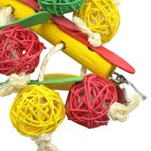Pet Bird Toys Leather Rope Colorful Rattan Balls