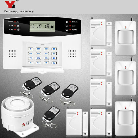 YobangSecurity  Wireless GSM Home Alarm System Russian Spanish Voice Metal Remote Control PIR Motion Detector Wired Siren Kit